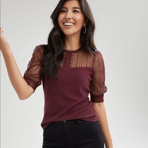 RW&CO Lace-Trimmed Elbow-Sleeve Blouse M nwt